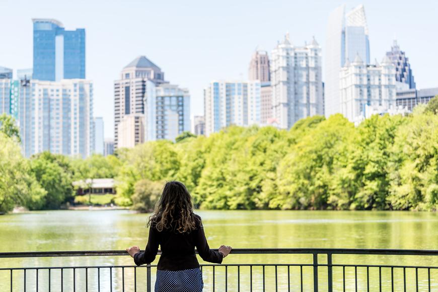 Girl signtseeing the beautiful view in Atlanta