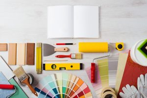 flat lay of creative materials and equipment for home renovation